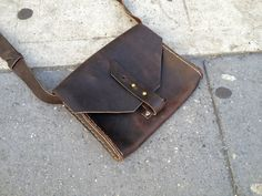 Mini Leather purse - small leather messenger, iPad mini bag, small tablet satchel hand sewn by Aixa