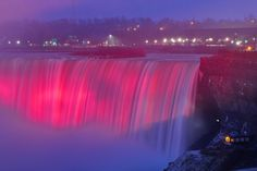 The Horseshoe Falls bathed in pink lights during a cold and snowy winter night during the 2013 Festival of Lights. Description from digitaljournal.com. I searched for this on bing.com/images