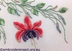 brazilian embroidery | Detail Butterfly Brazilian embroidery stitched by Elvi McCann
