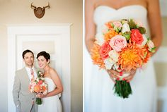 Orange, pink and peach wedding flowers.