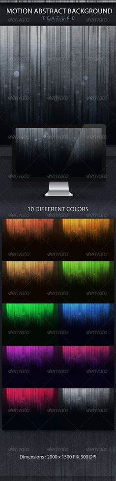 "Motion Abstract Backgrounds Texture  #GraphicRiver            Motion Abstract Backgrounds Texture      Dimensions:    2000 × 1500 PIX (300 dpi)      Info:   10 Different colors   all colors are included in the layered and well organized PSD file   choose colors easily from the layer comps   very easy to change colors ""Gradient layer styles ""           The.zip file includes:    1PSD file   10. JPGfiles Different colors      Ideal as: Websites, PowerPoint, Presentations, Wallpapers, Headers…"
