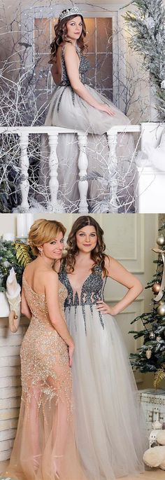Princess Prom Dresses Long Grey Prom Dresses Sparkly, Elegant Prom Dresses With Slit, Tulle Prom Dresses V Neck Gorgeous Prom Dresses, Classy Prom Dresses, Princess Prom Dresses, Simple Prom Dress, Prom Dresses For Teens, Unique Prom Dresses, Backless Prom Dresses, Prom Dresses Online, Amazing Dresses