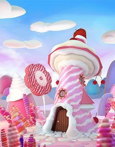 """🍡🍭🍬🍢🍭🍭 I wonder if the Fairy Kingdom in the book """"Tommy Tinker And The Lost Candy Factory"""" looks like this-Dreamy! Foto Fantasy, Candy Factory, Candy House, Candy Art, 3d Artwork, Environment Concept Art, Chocolate Factory, Illustration, Candy Store"""