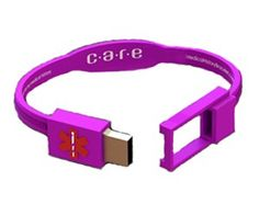 Care USB Medical History Bracelet. Has preloaded software so you can enter info such as drug prescriptions, allergies, medical conditions, emergency contact info, doctors name, insurance info. Info can be accessed by emergency personnel, etc.