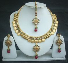 Necklace Earrings Tikka South Indian Coin Jewelry Polki Royal Gold Plated Set  #polki