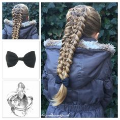 Two pull through braids with in the middle a weave and a black bow from Goudhaartje.nl This hairstyle is inspired by: Plaits Hairstyles, Hairstyle Braid, Locks, Beautiful Braids, Hair Brained, Little Girl Hairstyles, Hair Art, Hair Inspiration, Hair Makeup