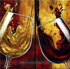 """Wine Lovers"" by © Leanne Laine Fine Art…"