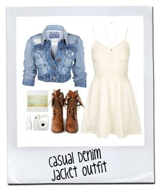 """""""Denim Jacket & Sundress"""" by styleskater7 ❤ liked on Polyvore featuring Topshop, Wild Diva, Estella Bartlett, Fujifilm, Essie, outfit, Boots, contestentry and denimjackets"""
