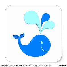 307607 CUTE CARTOON BLUE WHALE GRAPHICS CLASSIC ROUND STICKER