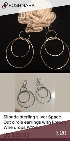 """😍.925 Silpada """"space out"""" French wire earrings😍 Very simplistic, but beautiful .925 Sterling silver silpada earrings.  Never worn. Show piece.  Pulled out of silver armoire.  They measure about 2 1/2"""" drop.  Not a heavy ear tugging earring. Silpada Jewelry Earrings"""