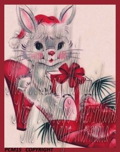 PCM15 Christmas Bunny Fat Quarter Vintage by mermaidfabricshop, $6.99
