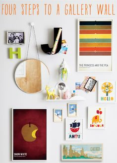 """4 steps to a gallery wall (good general ideas, but I think you should worry less about it looking """"right"""" and fill it with things that are meaningful/relevant to your family)  -- also think it's a must to have 3-dimensional, like the little guys on the shelf"""
