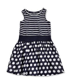 BLUE SEVEN (Kids) jurk 'dotje' (navy/wit)