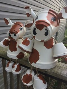 Terra Cotta Flower Pot Cows
