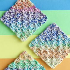 Learn the corner to corner crochet stitch and make these cheerful cotton washcloths.