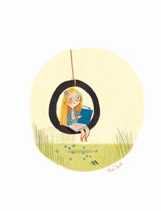 The Swing, May 2012 © ALEX T. SMITH (Artist, Author. York, England). Little girl reads a book while on a tire swing. ...