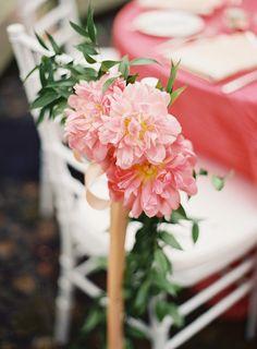 Wedding #ChairDecor | Peony Garland - SO Perfect! | Photo: LaniElias.com
