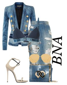 """""""BNA"""" by deborahsauveur ❤ liked on Polyvore featuring Balmain, Diesel, Dsquared2, Linda Farrow and Giuseppe Zanotti"""