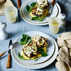 Stuffed mushrooms with goats' cheese and creamy polenta - Sainsbury's Magazine