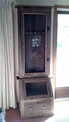 Buy Six gun cabinet with display case and drawer by ratswoodcreations. Explore more products on http://ratswoodcreations.etsy.com