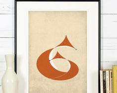 Retro poster fox vixen forest animals scandinavian by EmuDesigns