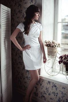 Pleated tulip skirt short wedding dress by ApilatCreativeAtelie, $305.00