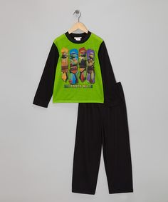 Take a look at this Green & Black 'Mutants Rule' TMNT Pajama Set - Boys on zulily today!