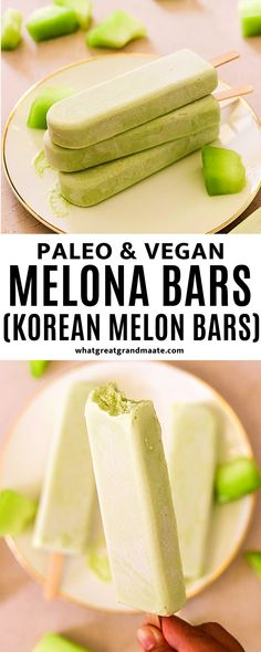 This homemade Melona bar recipe is a paleo and vegan version of Korean melon bars made with just 4 ingredients! They are ultra creamy and taste like the real deal. #paleo #vegan Paleo Vegan, 4 Ingredients, Dairy Free Recipes, Gluten Free, Ice Cream, Korean, Homemade, Bar, Free Food