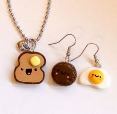 kawaii earrings | Kawaii Jewelry HAPPY BREAKFAST Set - Earrings and Necklace - Ready to ...