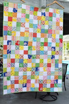 """Patchwork Quilt to make: simple easy squares - 4.5"""" so finished at 4""""...good way to use all my fave fabrics!"""