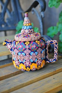 Polymer Clay Teapot 3D Bohemian Geometric Floral by ClaydeLys1, $45.75  I WANT THIS PLEASE..SOMEONE