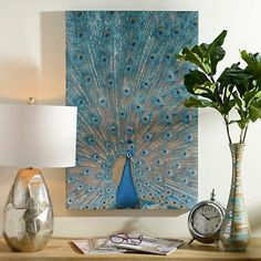 Jeweled Peacock Canvas Art Print | Kirklands