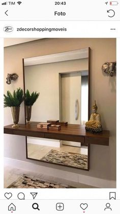 Ein Regal vor einen Spiegel zu stellen ist so ein Gre . Hallway Designs, Foyer Design, Home Room Design, Küchen Design, Home Interior Design, Living Room Designs, Living Room Decor, House Design, Hallway Ideas
