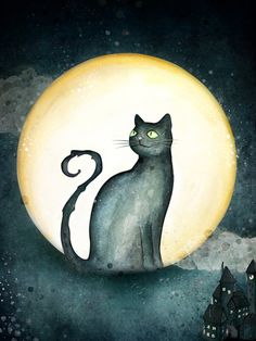 Magick Wicca Witch Witchcraft:  Moon and #black #cat. Fairytales for Gabriel.