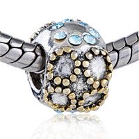 Pugster Golden And March Birthstone Aquamarine Crystal Circle Style Pandora Two Tone Plated Bead$11.11