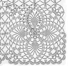Crochê Tricô: Gráfico de Square Abacaxí feito no Photoshop