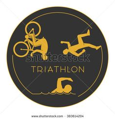 Gold logo triathlon. Triathlete figures on white background.