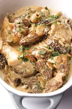 Fricassee of chicken and tarragon with morel mushrooms