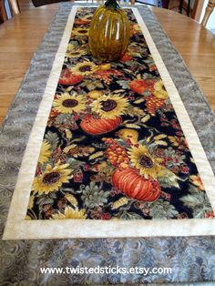 Quilted Table Runner Spectacuar Autumn Bounty by twistedsticks,