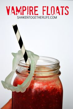 Vampire Floats - just two ingredients and loads of spook appeal! (Hawaiian punch with vanilla ice cream, maybe even a splash of sprite!)