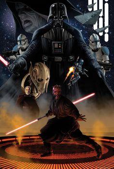 Star Wars - Sith by Doug Wheatley. Star Wars Film, Star Wars Fan Art, Star Wars Poster, Star Trek, Wallpaper Darth Vader, Wallpaper Gamer, Star Wars Wallpaper, Stargate, Anakin Vader