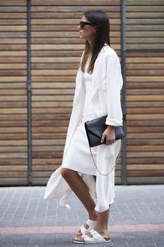 all white + birkenstocks