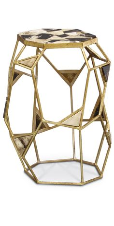 Limited Production Design: Geometric Petrified Wood Iron Art Side Table * Distressed Gold Leaf * H: 20 Sq: 15 inches * Partner Coffee Table Available Contemporary Side Tables, Modern End Tables, Contemporary Design, Side Coffee Table, Metal Side Table, Mosaic Furniture, Table Furniture, Luxury Furniture, Bedroom Furniture