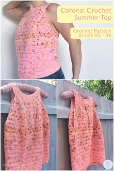 Crochet pattern for womans summer vest top The sleeveless top has a ring neck and is loose fitting at the front with a keyhole feature detail on the back With great drape. Crochet Jumper, Crochet Summer Tops, Crochet Halter Tops, Knit Crochet, Crochet Socks, Crochet Sweaters, Knitted Slippers, Crochet Granny, Crochet Shawl