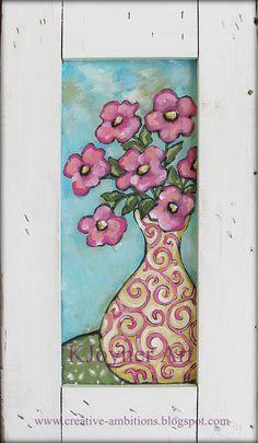 Folk Flower Painting on Shipping Crate Panel... KJoyner Art