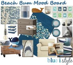 Mood board for a Beach Bum themed little boys room.  Sources listed on the blog. {blue i style}