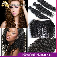 Queen Hair Products Brazilian Deep Wave Virgin Hair afro kinky curly hair extension 6A 1B Double Weft Weave 5pcs /lot Free Ship  $93.17 - 329.20