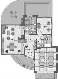 KUĆA IZ SNOVA: Super kuća sa potkrovljem i garažom (DETALJAN PLAN) - Moja kuća i vrt New Modern House, Modern House Facades, Modern Bungalow House, Modern Houses, House Plans Mansion, Cabin House Plans, Luxury House Plans, Office Layout Plan, Unique House Design
