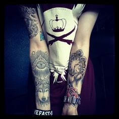 Cool tattoos on the arms. #tattoo #tattoos #ink
