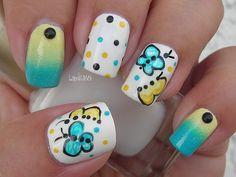Nail Art - Beautiful Butterflies Collaboration with Liverpoollashes - Decoracion de Uñas